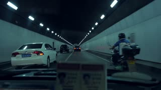 POV Driving Through Nanjing Tunnel