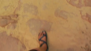Pov Of Feet Walking While Wearing Sandals