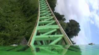 POV of First Car Zipping Around Coaster Bend