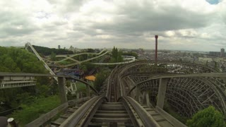 POV of First Drop on Wooden Roller Coaster
