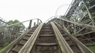 POV of Turns of Classic Wooden Roller Coaster