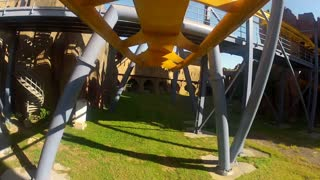 POV of Twists on Yellow Roller Coaster