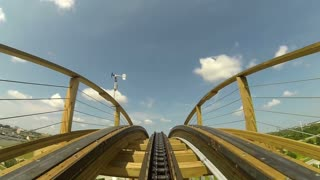 POV shot Zooming Downing Wooden Roller Coaster
