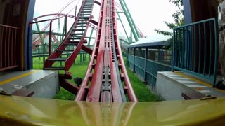 POV Steel Coaster Goes Over Lift Hill