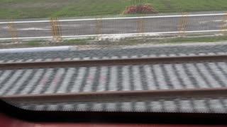 POV Train Tracks Zooming By