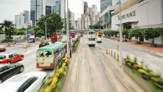 POV - Trams which run in Central Hong Kong Island along Connaught Road, China, Asia - T/Lapse