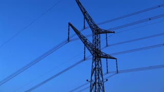 Power Lines with Blue Sky Background