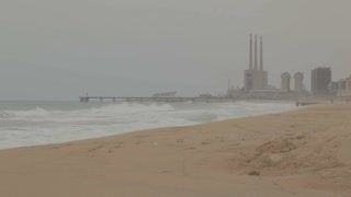 Power plant near the sea in Barcelona, Spain
