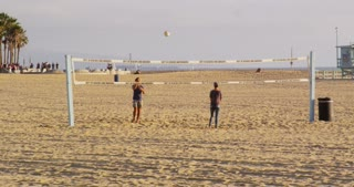 Practicing Volleyball on California Beach