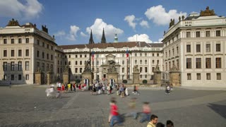 Prague Castle with St. Vitus Cathedral viewed from Castle Square, Prague, Czech Republic - T/lapse
