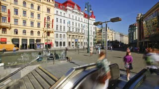 Prague City centre, Namesti Republiky, with its Red Trams and many Pedestrians, Czech Republic, Europe - T/Lapse