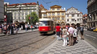 Prague City centre with its famous Red Trams and many Pedestrians, Czech Republic, Europe, T/Lapse