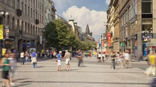 Prague City centre with its  old historic buildings and many Pedestrians, Czech Republic, Europe, T/Lapse