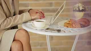 Pretty young woman sitting at cafe with laptop and cup of coffee