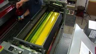 Printing Press Is Loaded With Red Ink