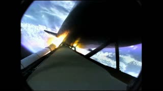 Propulsion Rocket Detaching From Shuttle