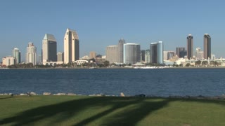 Public Park across harbor San Diego City Skyline