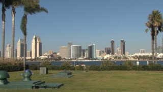 Public Park Benches and tables  across waterfront to San Diego Skyline