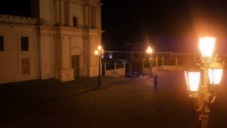 Public plaza at night