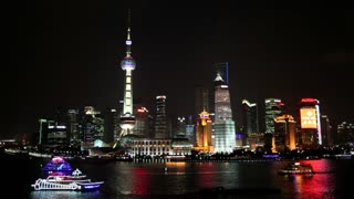Pudong skyline elevated view across Huangpu River from the Bund, Shanghai, China, Asia