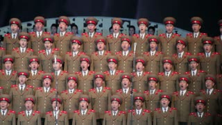 Pyongyang, Army singers performing in the Pyongyang Concert Hall, North Korea, Asia