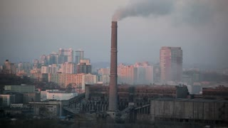 Pyongyang, Coal fired power plant factory chimneys in the city, North Korea, Asia