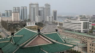 Pyongyang, elevated view across central Pyongyang from the rooftops of the Grand People's Study House, North Korea, Asia