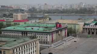 Pyongyang, elevated view across Kim Il Sung Square and the Korean Central History Museum, North Korea, Asia
