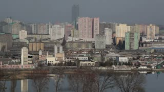 Pyongyang, factorys and apartment buildings in the city centre, North Korea, Asia