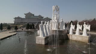 Pyongyang, Grand People's Study House and fountains, North Korea, Asia