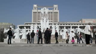 Pyongyang, Mansudae Arts Theatre and fountains, North Korea, Asia