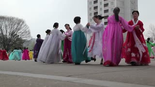 Pyongyang, mass dancing in the streets to celebrate the 100th anniversay of the birth of President Kim Jong Il, April 15th 2012, North Korea, Asia