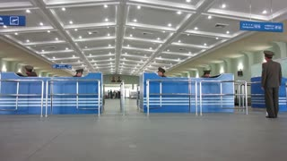 Pyongyang, Pyongyang International airport arrivals and departures hall, North Korea, Asia