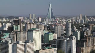 Pyongyang, Ryugyong Hotel, now an Iconic symbol of the city the Ryugyong hotel towers above everything else, North Korea, Asia