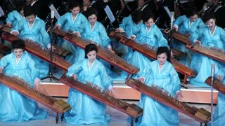 Pyongyang, Women performing during a concert at the Pyongyang concert hall, North Korea, DPRK, Asia