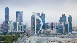 Qatar, Middle East, Arabian Peninsula, Doha, new skyline of the West Bay central financial district of Doha, T/Lapse