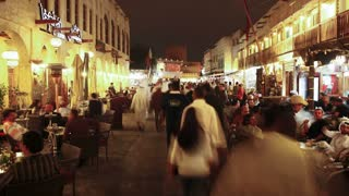 Qatar, Middle East, Arabian Peninsula, Doha, the restored Souq Waqif with mud rendered shops and exposed timber beams