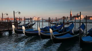 Quay at St Mark's Square with Gondolas and the view to San Giorgio Maggiore Island, Venice, Italy, Europe