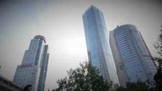 Quick Low Angle Pan of Buildings in Nanjing