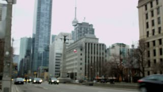 Rack Focus of Traffic and Buildings in Downtown Toronto