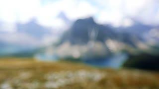 Rack focus onto Mount Assiniboine in the Canadian Rockies