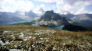 Rack focus onto Mount Assiniboine Provincial Park in Canadian Rockies and Banff