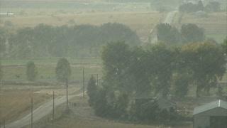 Rain Pouring On A Farm