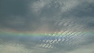 Rainbow in the Sky as Clouds Are Moving