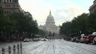 Rainy DC Street Looking Toward Capitol 2