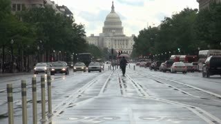 Rainy DC Street Looking Toward Capitol 3