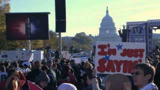 Rally Crowd and Capitol Building