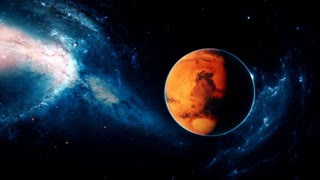 Realistic beautiful planet Mars from deep space