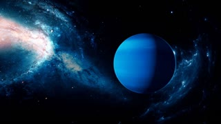 Realistic beautiful planet Neptune from deep space