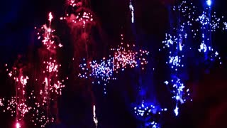 Red and Blue Firework Sparks